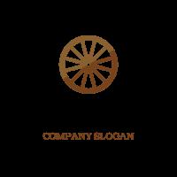 Minimalistic Two Color Cart Wheel Logo Design