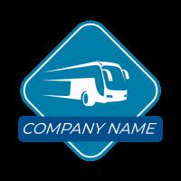 Silhouette of a Bus Inside a Square Logo Design