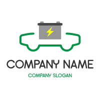 Silhouette of Electric Car with Battery Logo Design
