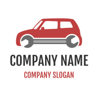 Small Red Car with Wrench Logo Design