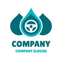 Three Drops and a Steering Wheel Logo Design