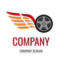 Automotive & Vehicle Logo | Wheel with an Eagle Wing Silhouette