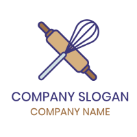 Bakers Rolling Pin and Whisk Logo Design