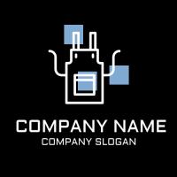 Black Apron with Blue Squares Logo Design