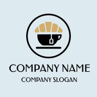 Coffeehouse Emblem with Croissant Logo Design