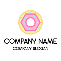 Donut with Pink Glaze and Sprinkles Logo Design