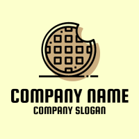Modern Waffle Silhouette Logo Design