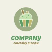 Organic Natural Green Cupcake Logo Design