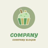 Organic Natural Green Cupcake Logo Design
