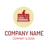 Pink Cake with Red Frosting Logo Design
