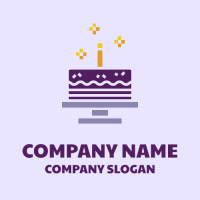 Purple Birthday Cake with Candle Logo Design