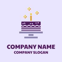 Purple Birthday Cake with Candle Logo Design
