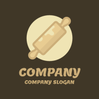 Rolling Pin with Round Dough Logo Design