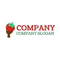 Strawberry with Chocolate Fondue Logo Design