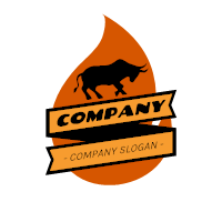 Black Bull Silhouette with Flames Logo Design