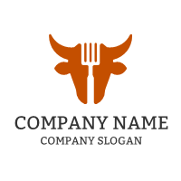 Bull Silhouette and Spatula Logo Design