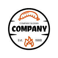 Fire and Sausage in Black Circle Logo Design