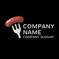 Modern Sausage Silhouette on Fork Logo Design