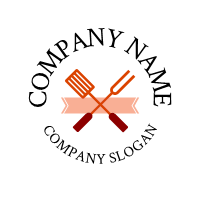 Spatula Grill Fork and Banner Logo Design