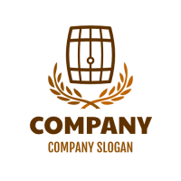 Beer Barrel with Two Brown Twigs Logo Design