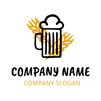 Black Glass Silhouette with Wheat Logo Design