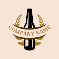 Glass Lager Bottle with Branches Logo Design