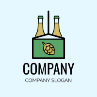 Green Beer Pack with Glass Bottles Logo Design