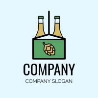 Green Beer Pack with Glass Bottles Logo Design