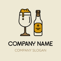 Group of Retro Beer Glass and Bottle Logo Design