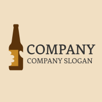 Hand Holding Ale Brown Bottle Logo Design
