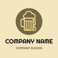 Minimalist Beer Mug with Foam Logo Design