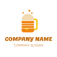 Orange Burger and Beer Concept Logo Design