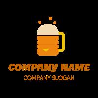 Orange Burger and Beer Concept Logo Design