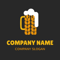 Orange Malt Cup with White Foam Logo Design