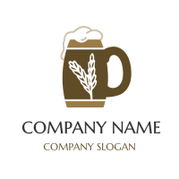 Retro Beer Mug with White Wheat Logo Design