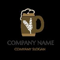 Retro Beer Mug with White Wheat Logo Design