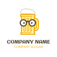 Smart Bear Mug with Black Glasses Logo Design