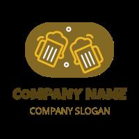 Two Orange Cheering Beer Mugs Logo Design