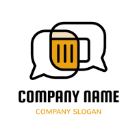 Two Speech Bubbles and Beer Mug Logo Design