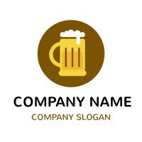 Yellow Beer Glass with Foamy Cloud Logo Design