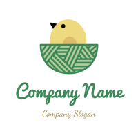 Bird Logo | Small Yellow Chicken in the Nest