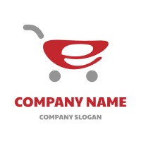Electronic Shopping Red Cart Logo Design