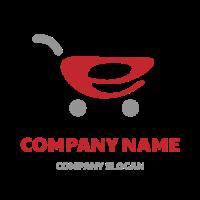 Electronic Shopping Red Cart Logo Design