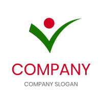 Green Tick with Red Circle Logo Design