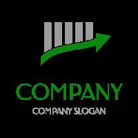 Grey Bar Graph with Green Arrow Logo Design
