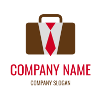 Office Briefcase with Red Tie Logo Design