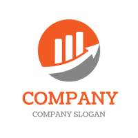 Orange Diagram with Arrow Logo Design