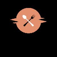 Pink Shaking Round with Tableware Logo Design