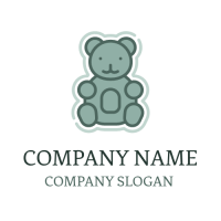 Cute Blue Jelly Gummy Bear Logo Design