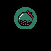 Glass Candy Jar with Pink Gum Logo Design
